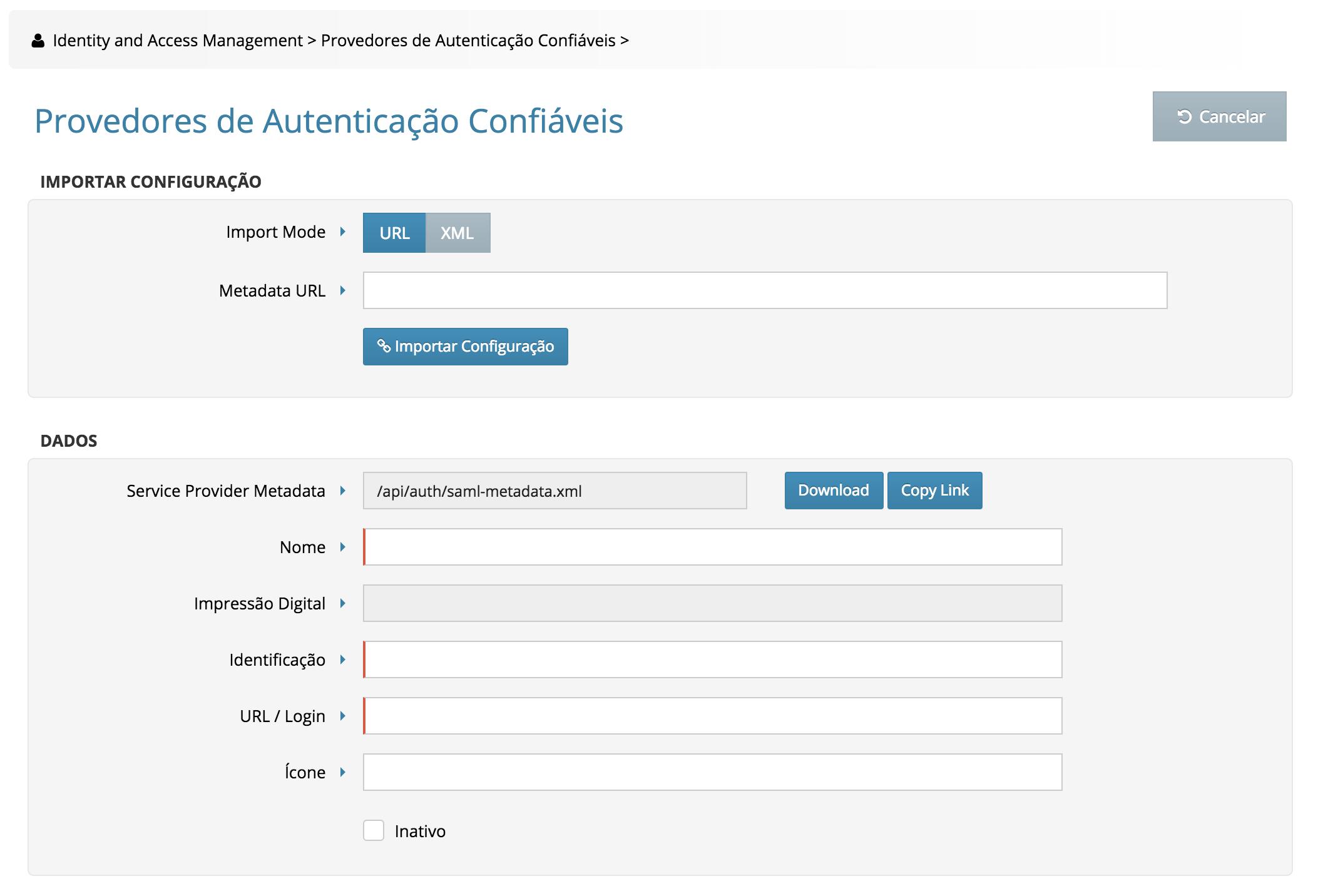 Configurando o Identity Provider