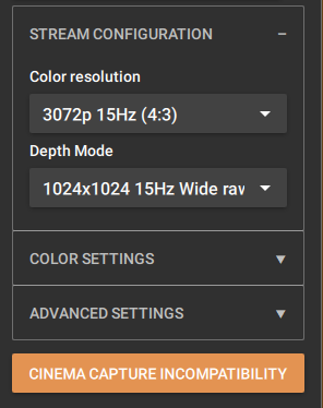 Change Color & Depth to settings that do not record at 15Hz to remove warning.