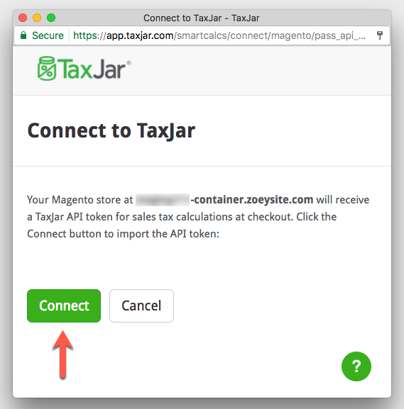 Connect To TaxJar after Logging-In