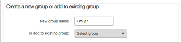 Either enter a new group name or select an existing group from the drop down