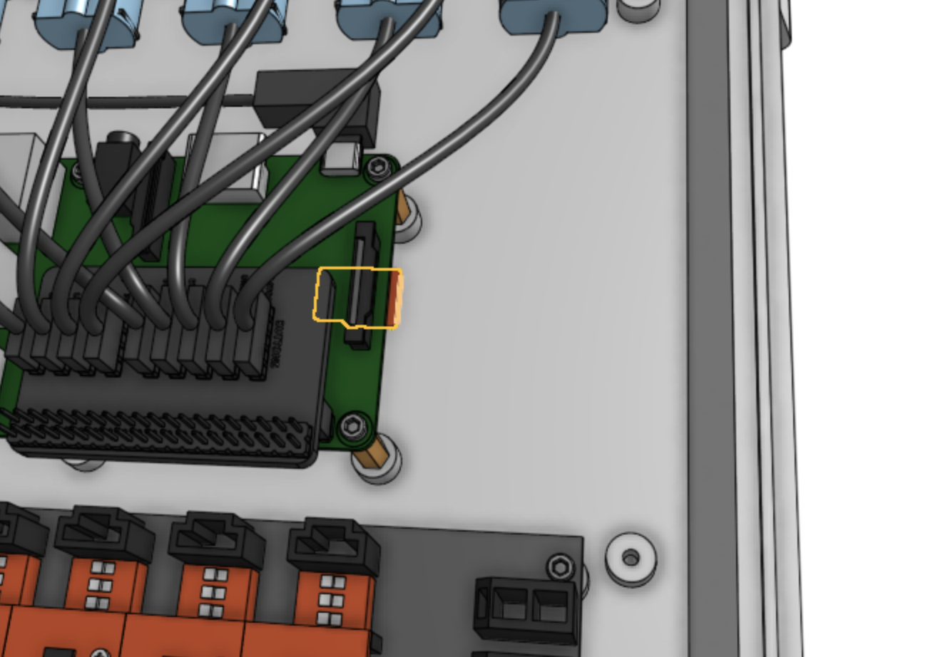 MicroSD card slot on the Raspberry Pi 3