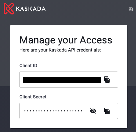 Manage your Access displays your Client ID and Client Secret. These are unique to you and should not be shared.