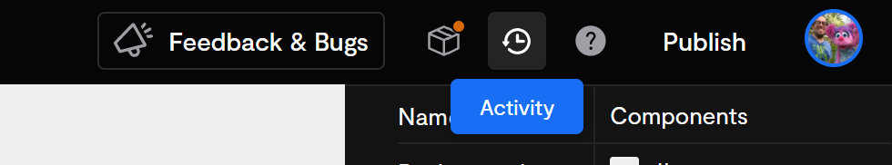This button opens the activity pane.