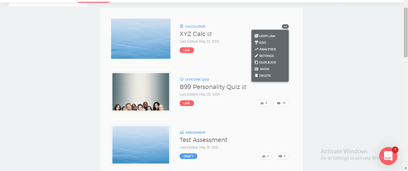 Click on Options icon to reveal actions which can be performed on your calculator or quiz.