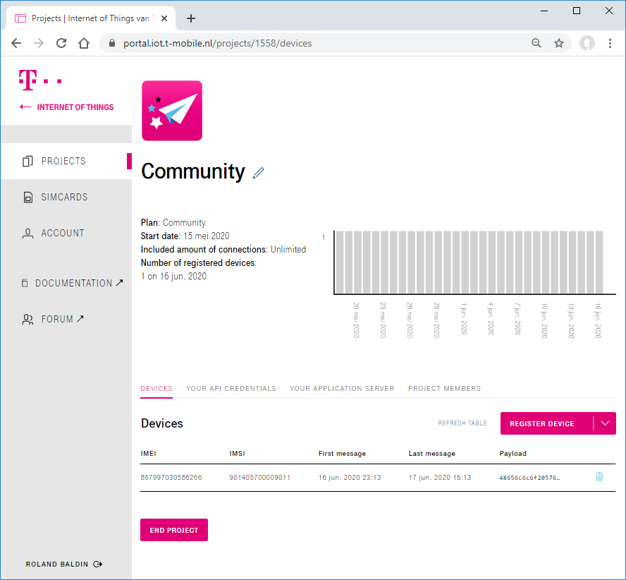 Project view of IoT Creators portal with device and last sent data.