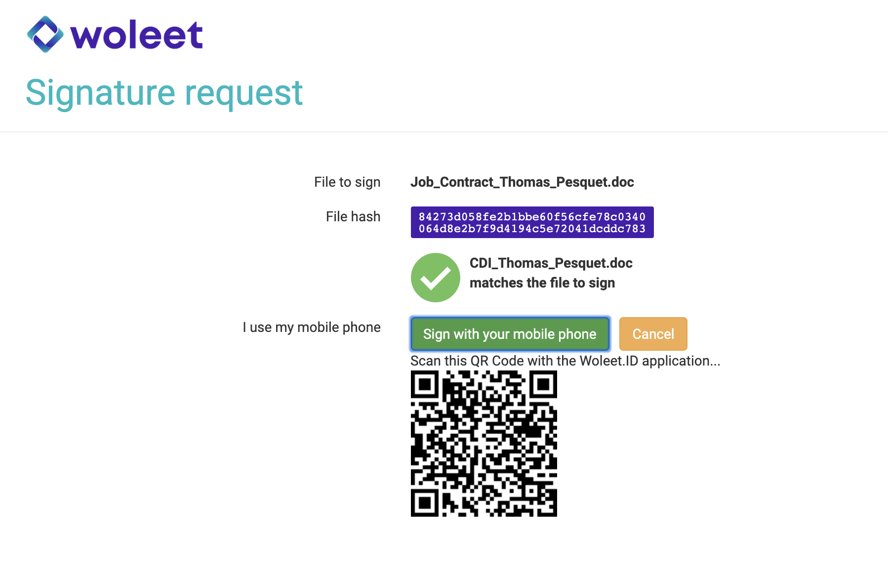 Computer view - Scan the QR Code to sign