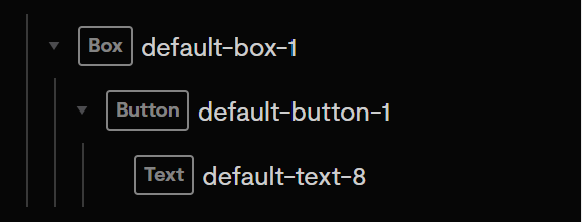 A Box component a Button Component and a Text component in a nested structure.