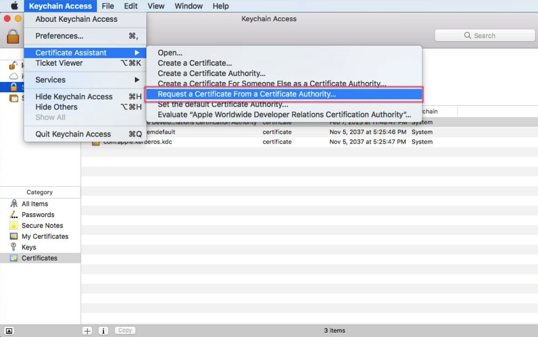 generate certificate signing request for ios app, step one