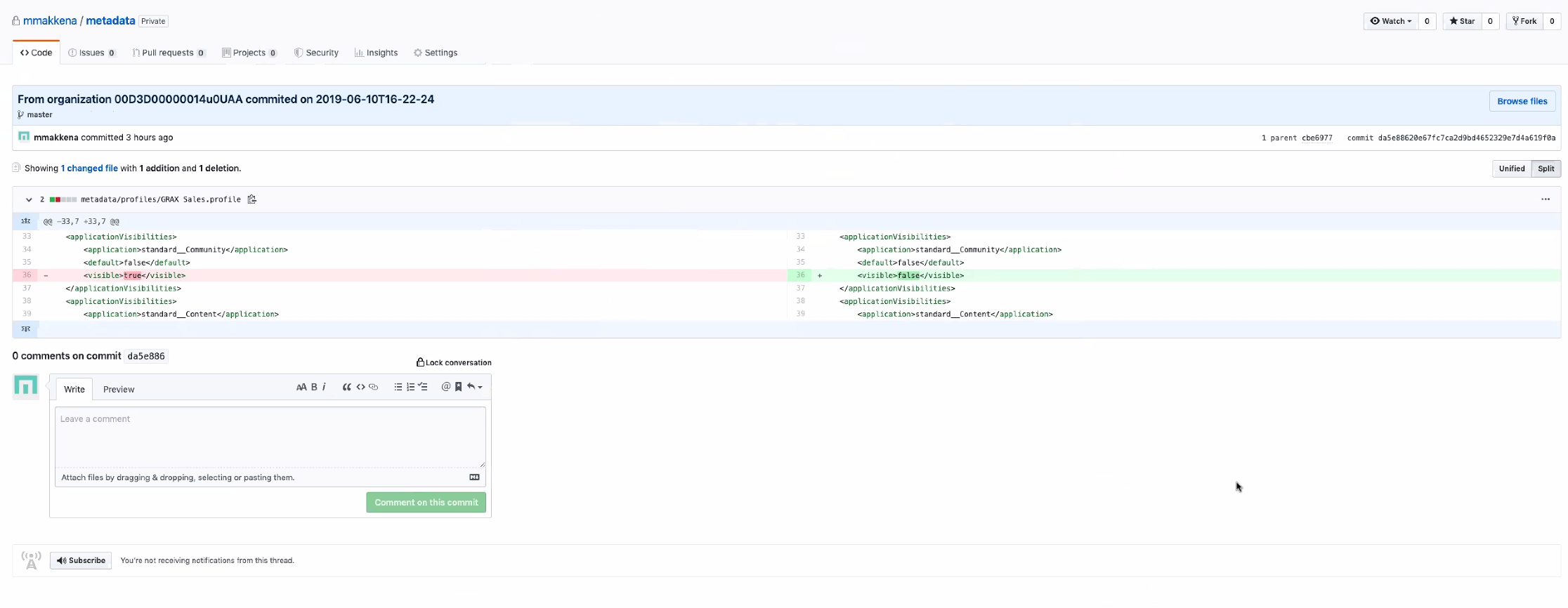 Track all metadata changes and compare versions across each metadata backup using the Git tools you are accustomed to