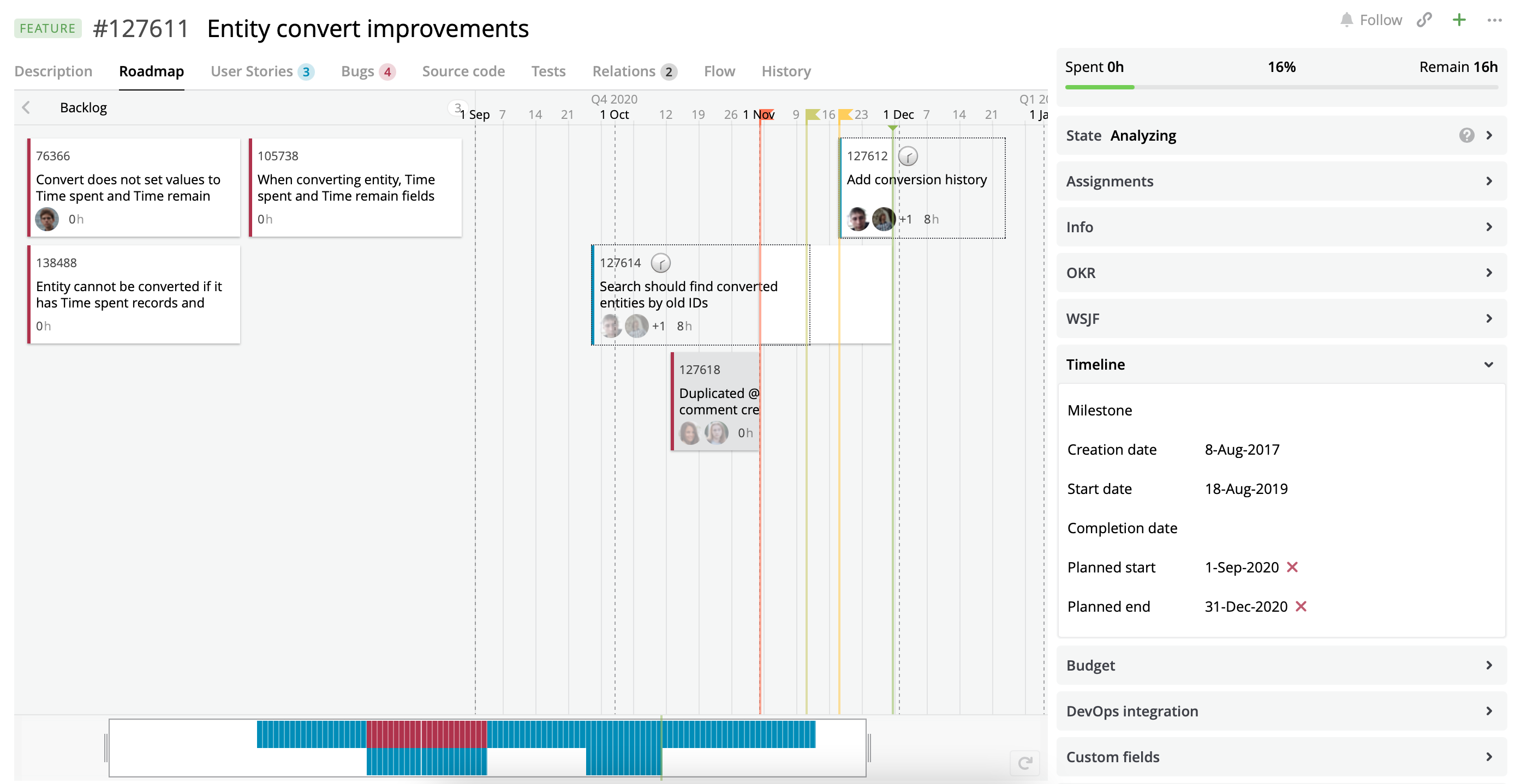 A Roadmap view with User Stories and Bugs assigned to the current Feature.