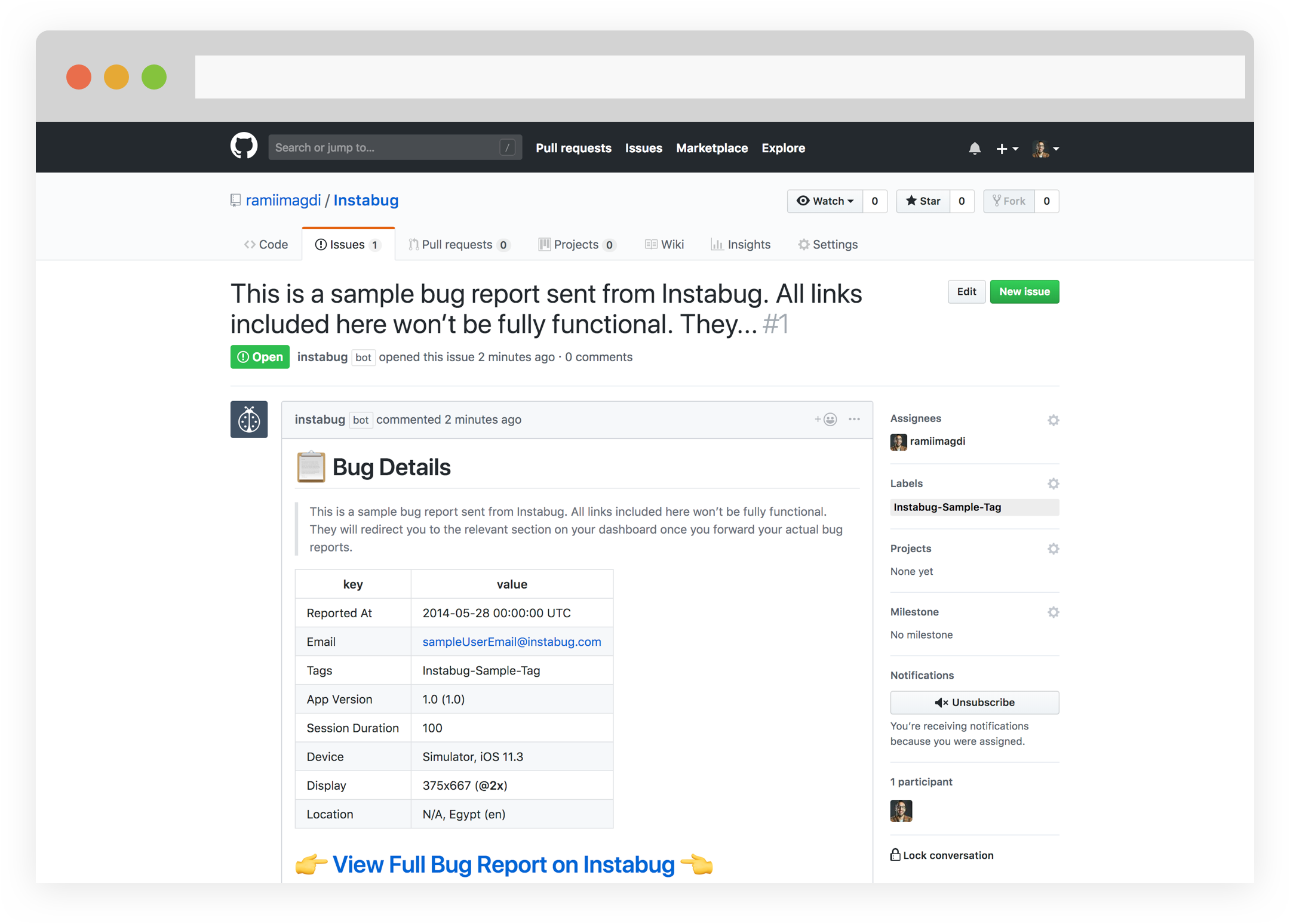 instabug github integration: sample bug report