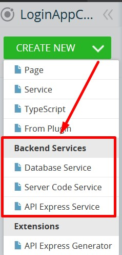 Backend Services import menu.