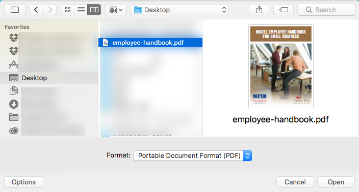 Double-click **employee-handbook.pdf** on your desktop.