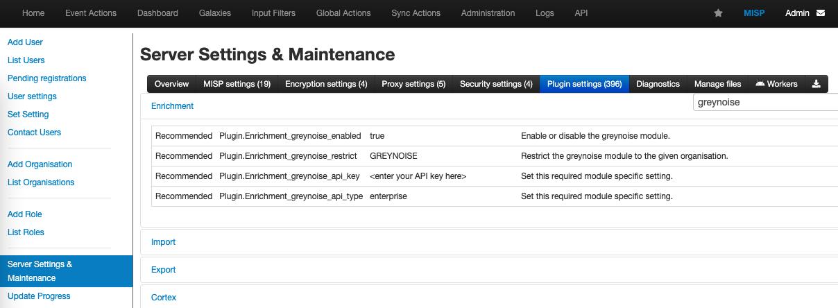 Enter GreyNoise module settings to enable the module.