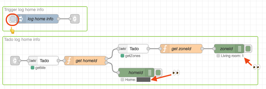 """You can get your home information by running the """"log home info"""" flow."""
