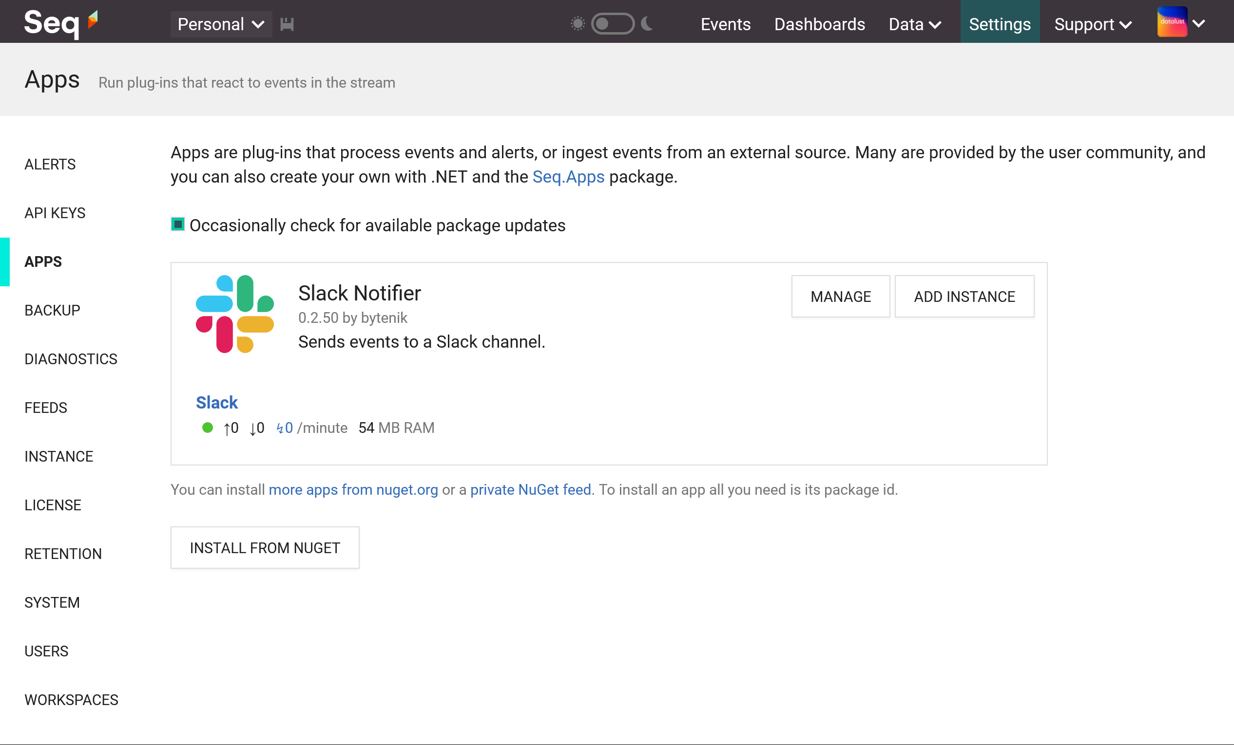 Seq Apps screen showing the Slack app and one running instance.