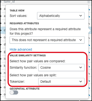 Two drop down lists appear for similarity settings after you select More and then Advanced for a unified attribute