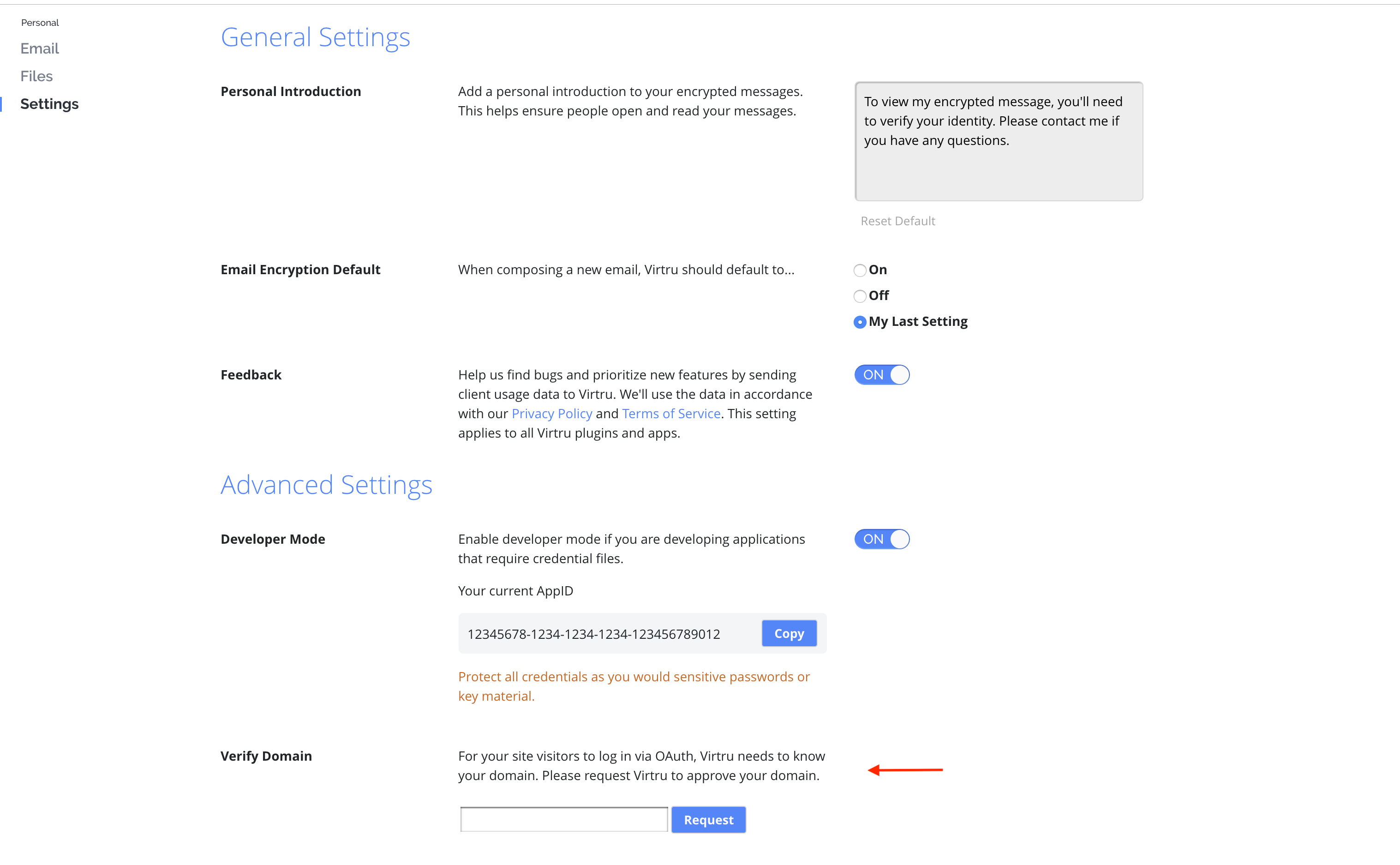 Example of where to find your domain settings in the Virtru Dashboard.