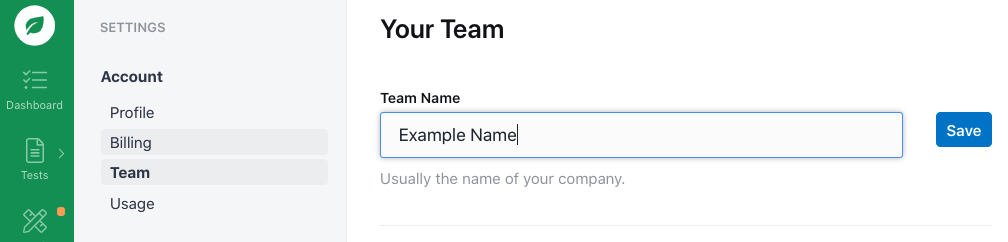 Updating your team name.
