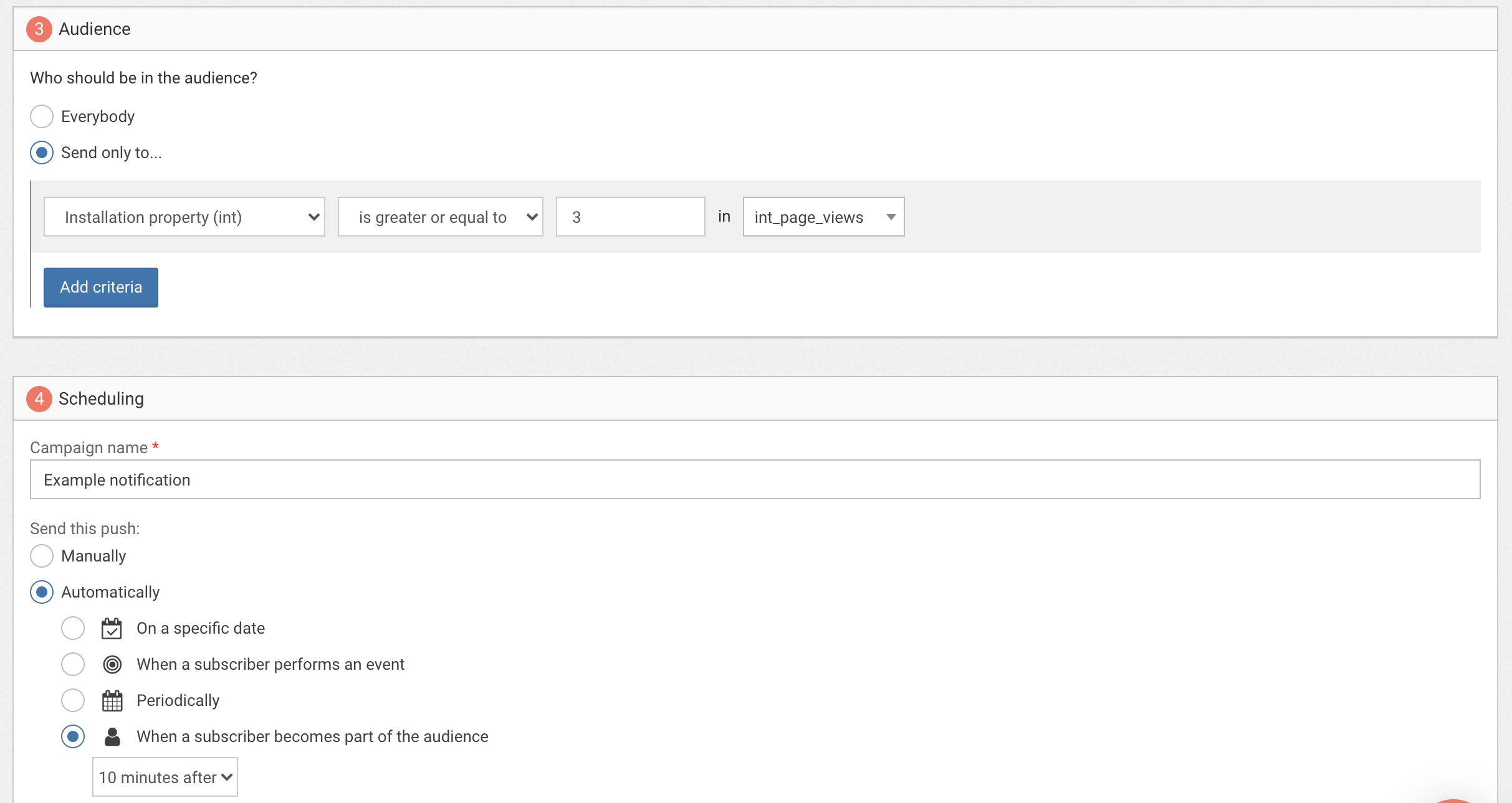 Example of an automated notification scheduled to be sent 10 minutes after the user reaches 3 page views.