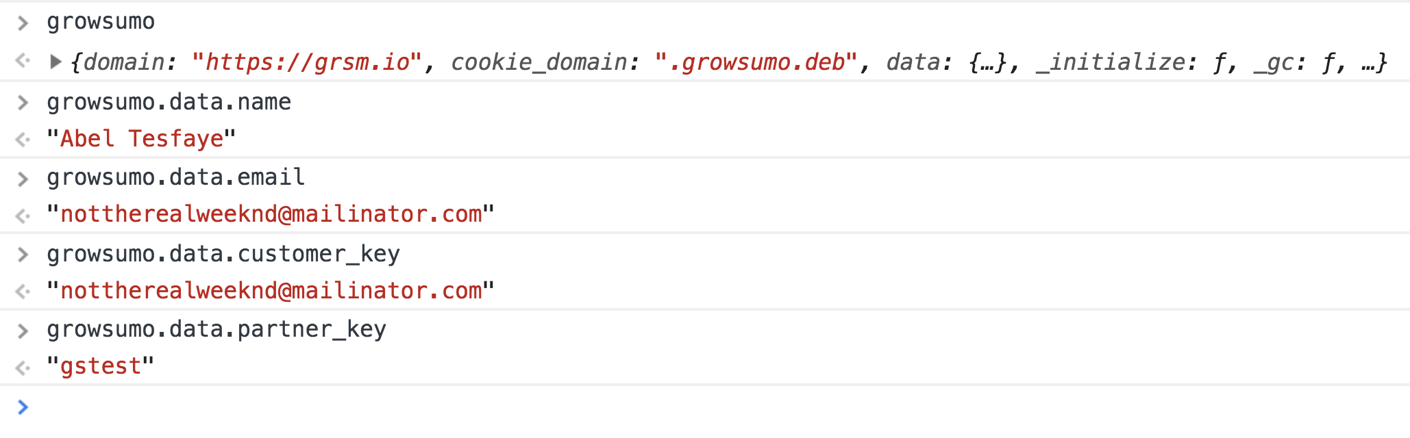 If we console.log() each of the `growsumo.data` fields before submission