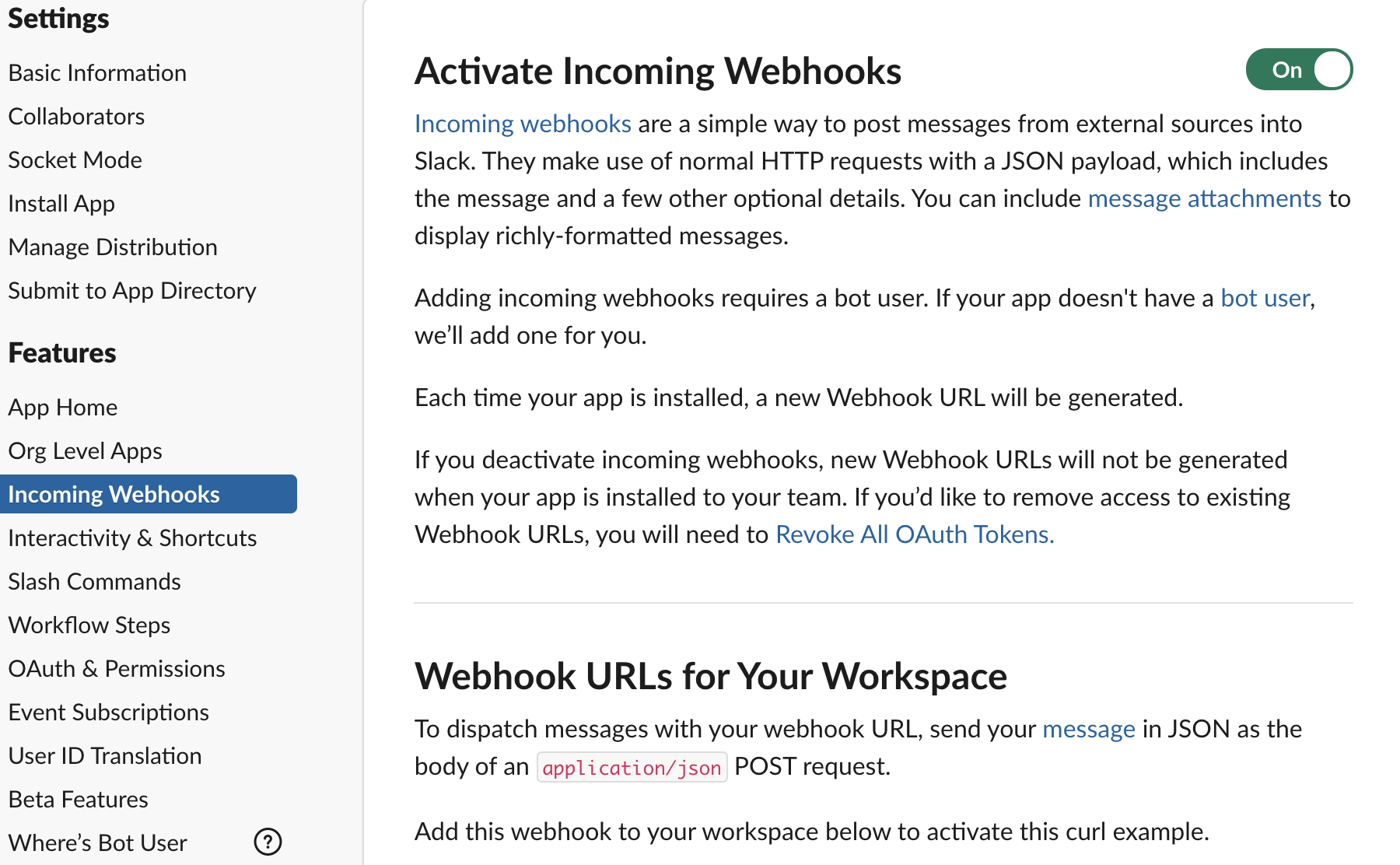 Activate Incoming Webhooks in Slack App Settings
