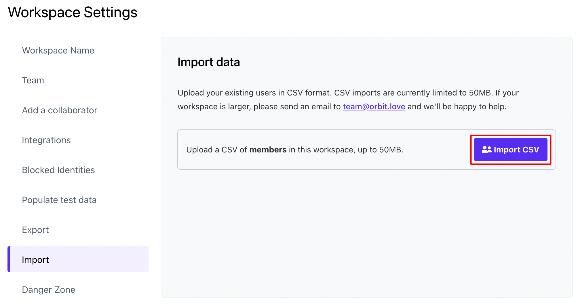 The Import CSV button from the Import page is outlined.