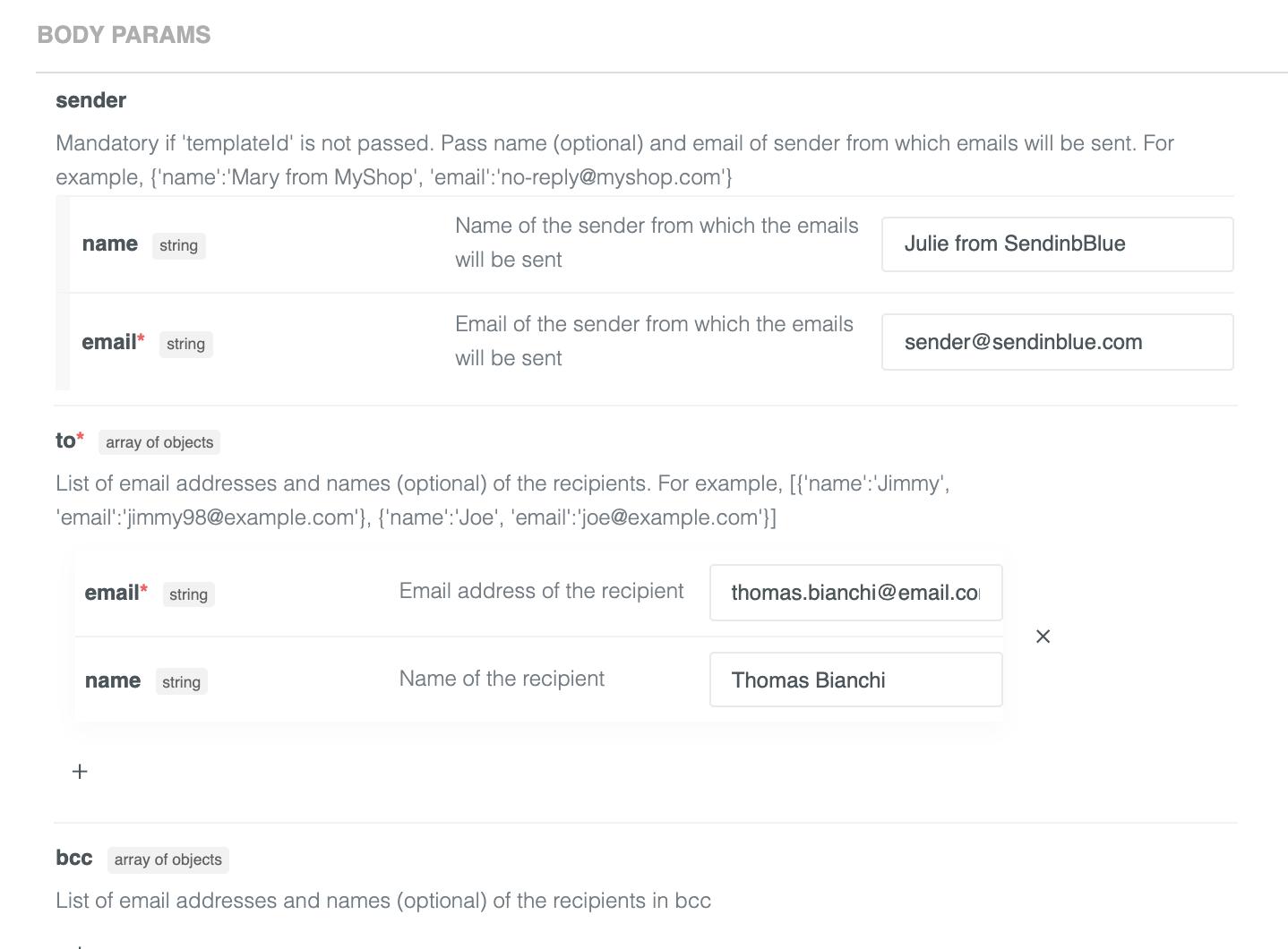 Sendinblue API body parameters to send a transactional email