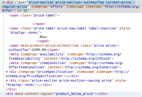 """In this example, you'd copy over `price price--withoutTax` into the **Selector ID** field. It is important to note, if there are any spaces in the class name, such as `price price` replace any spaces with """"."""" so the final text in the *Selector ID* field should read: `price.price--withoutTax`."""