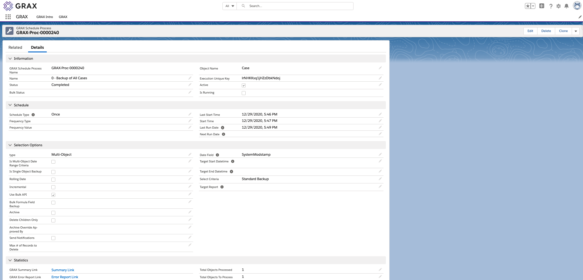 GRAX uses Salesforce custom objects to store key information about the backup or archive job.  The layout may differ for each customer, depending on the page layout properties for that environment.