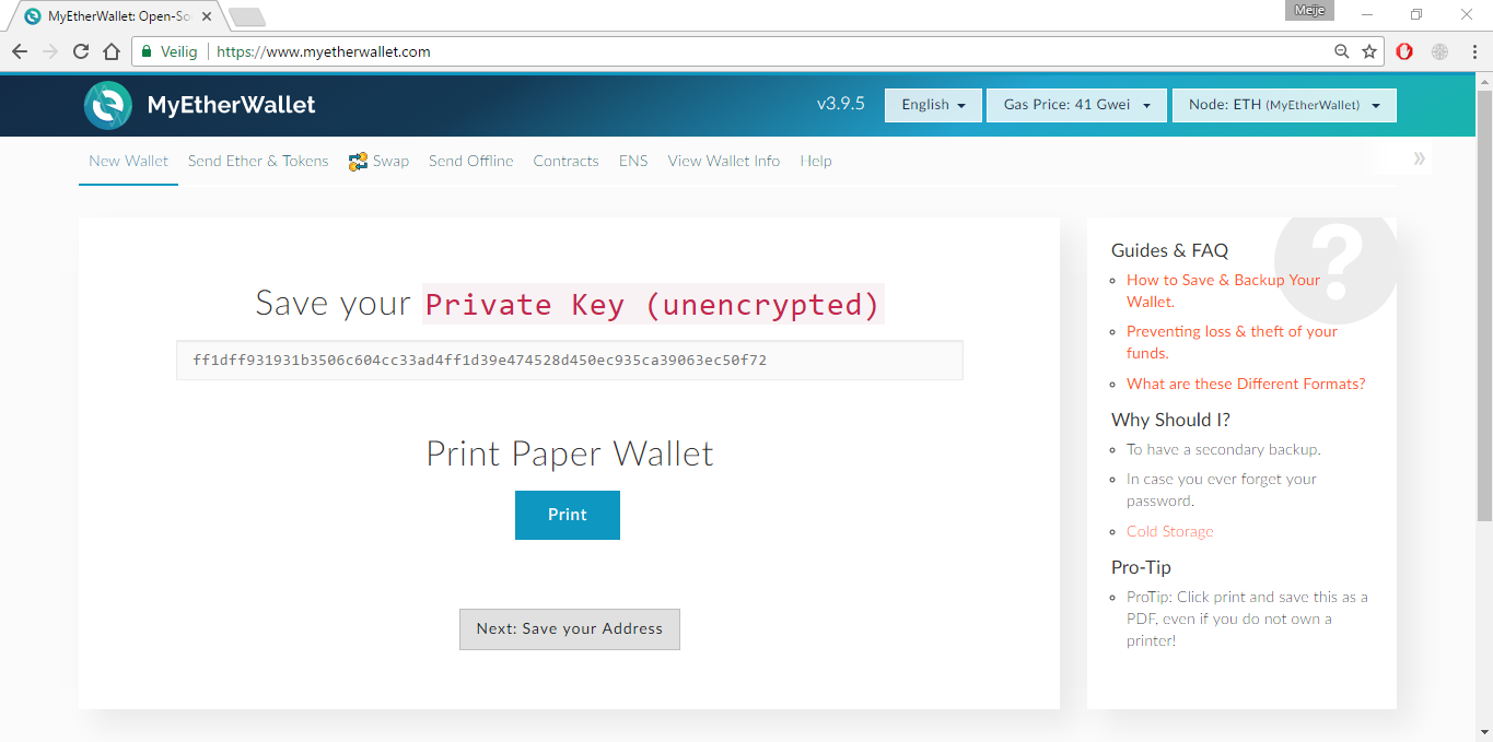 *Figure 2.3. Save your Private Key (unencrypted) and print the paper wallet.*