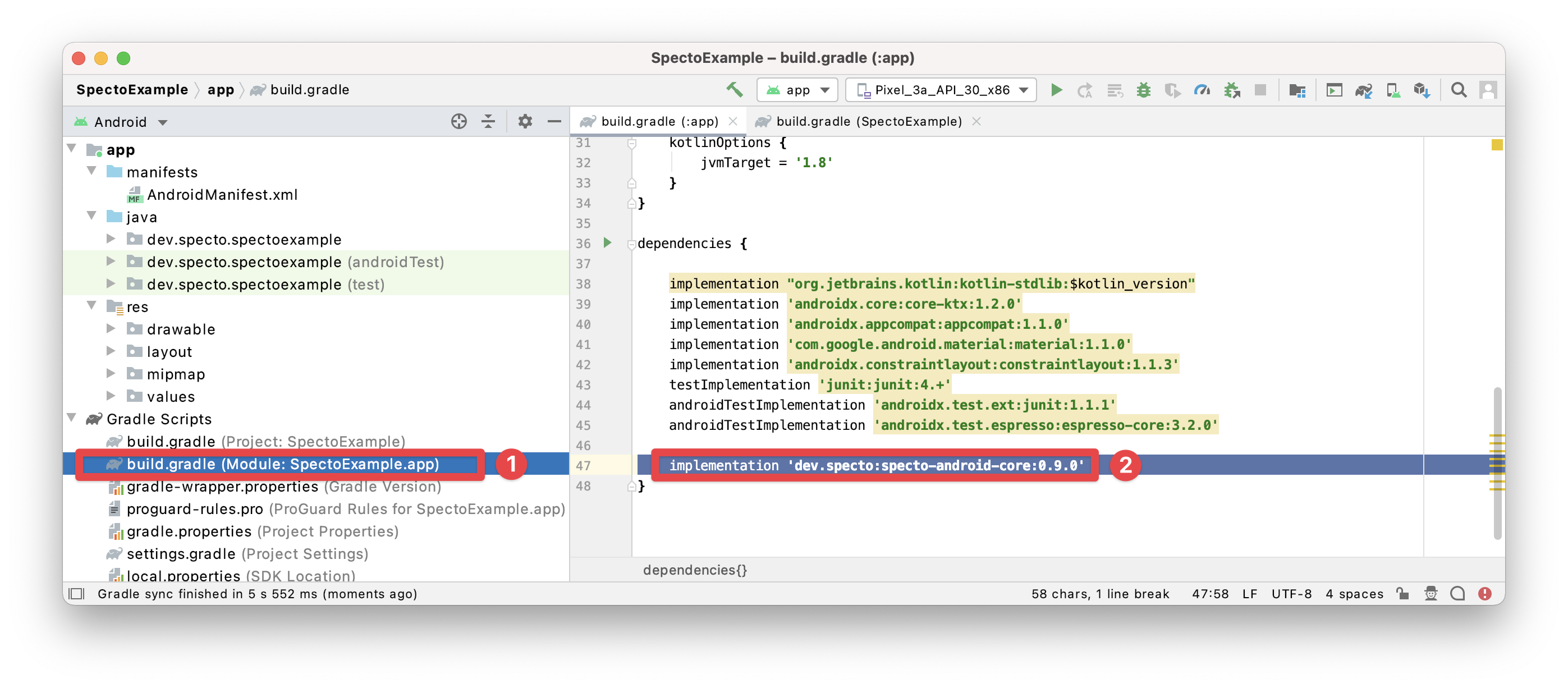 Adding the Specto library as a dependency in build.gradle (steps 1-2)