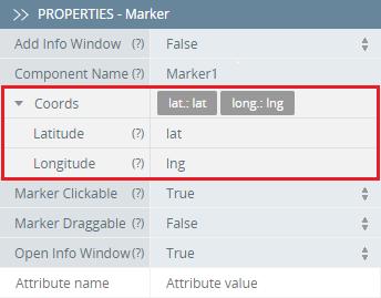 Define Marker coordinates