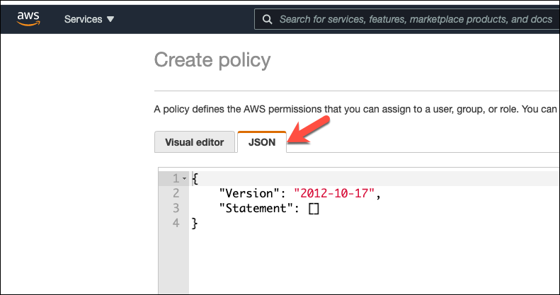 JSON Policy Tab