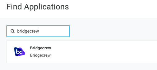 Search for Bridgecrew in the Applications tab