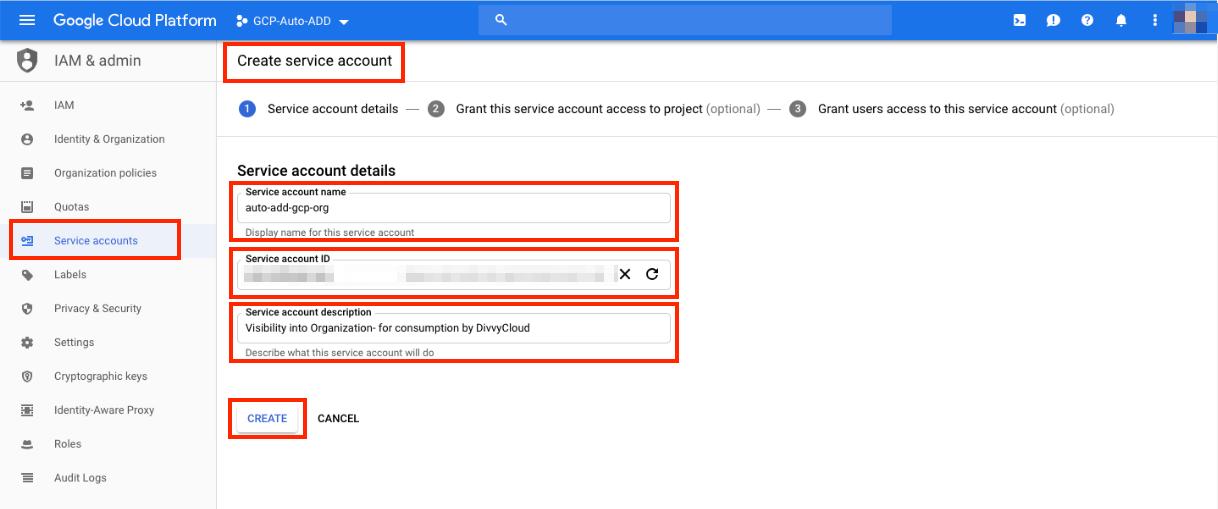 GCP - Service Account Details