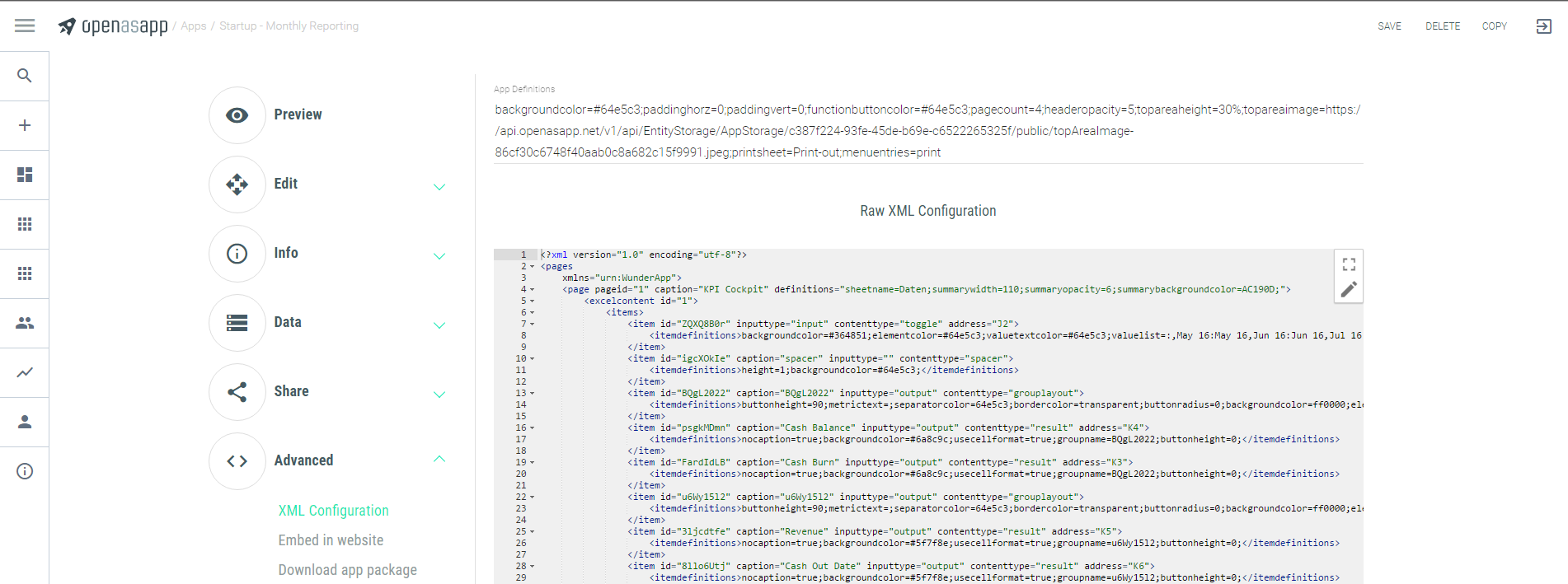 Raw XML Configuration