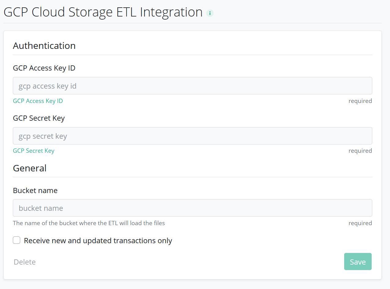 Google Cloud Storage delivery configuration in RevenueCat dashboard