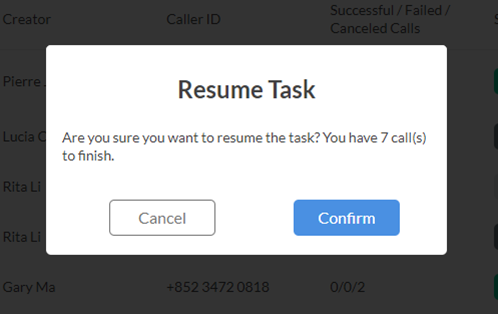 Resume a Call Task