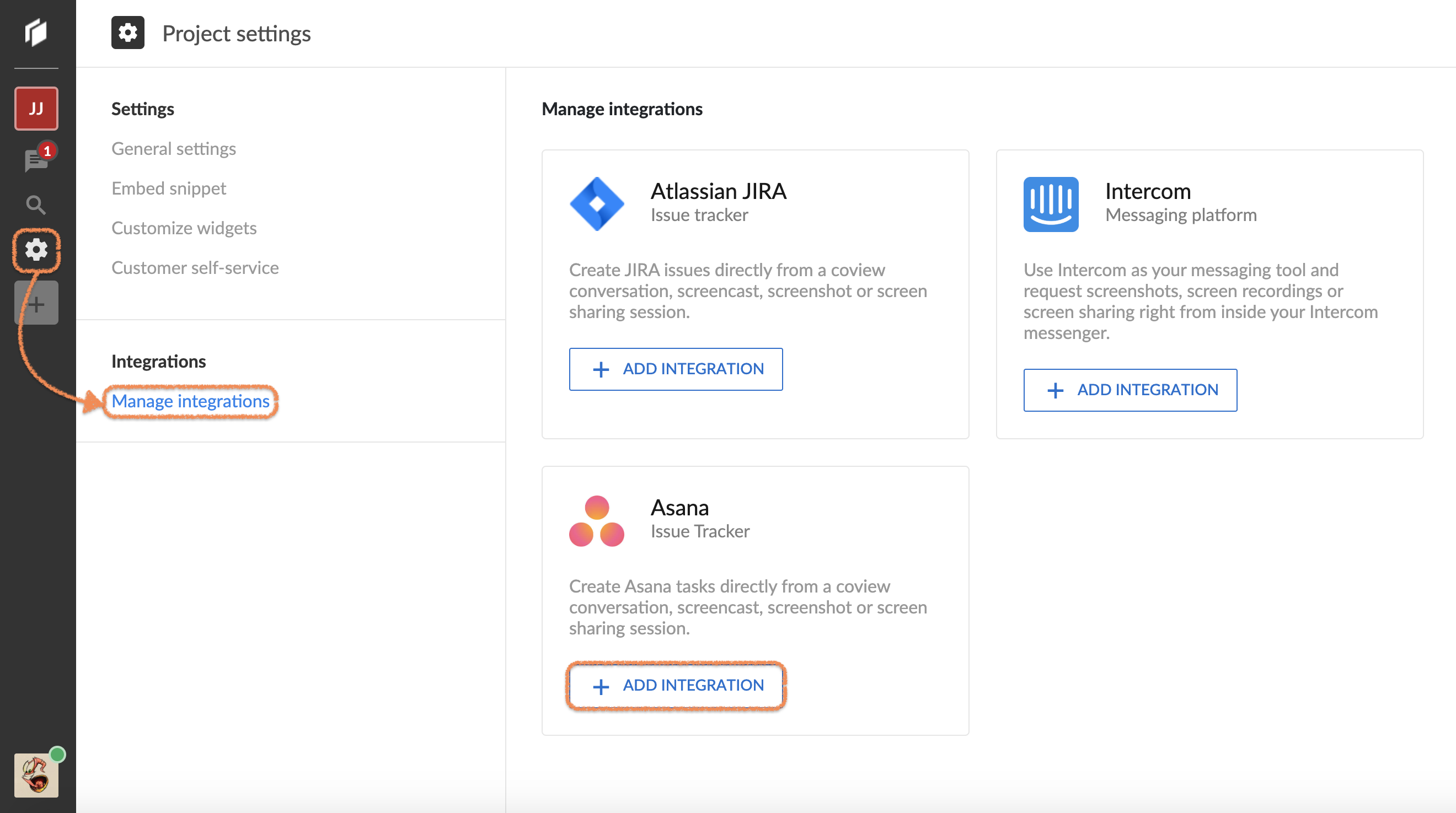 Choosing Asana from the list of available integrations.