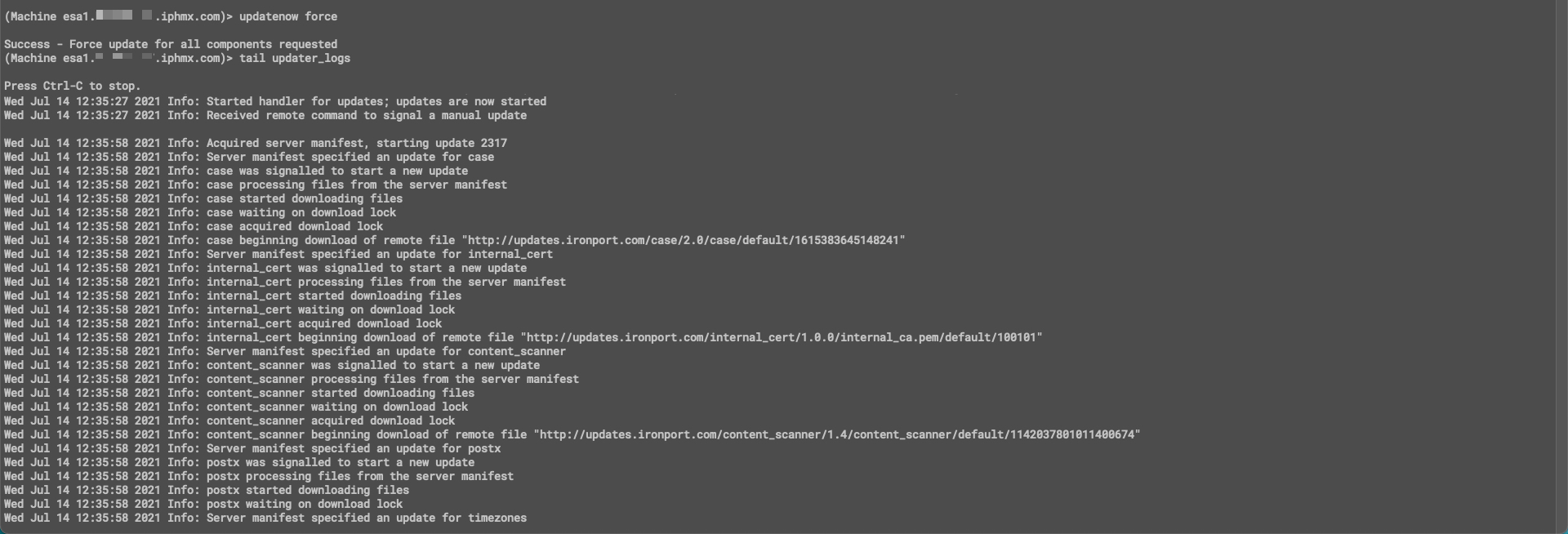 CLI example using 'updatenow force'