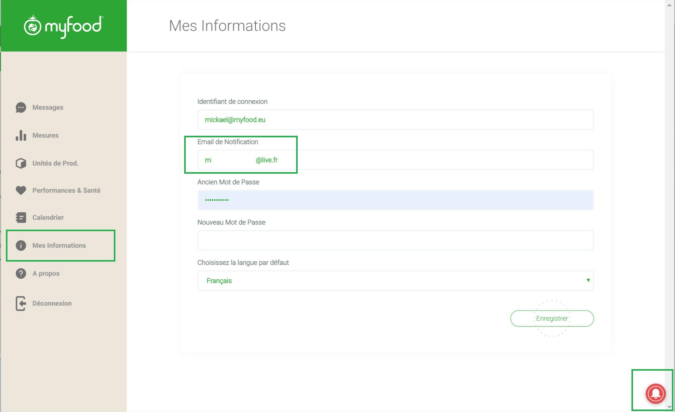 """Activation des notifications depuis l'interface """"Mes Informations"""""""