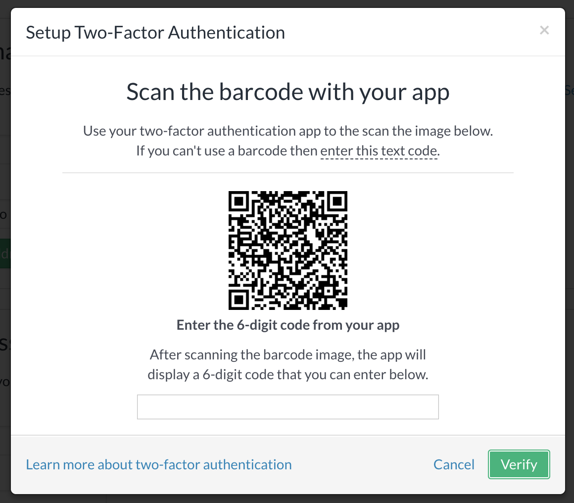 QR code for 2FA