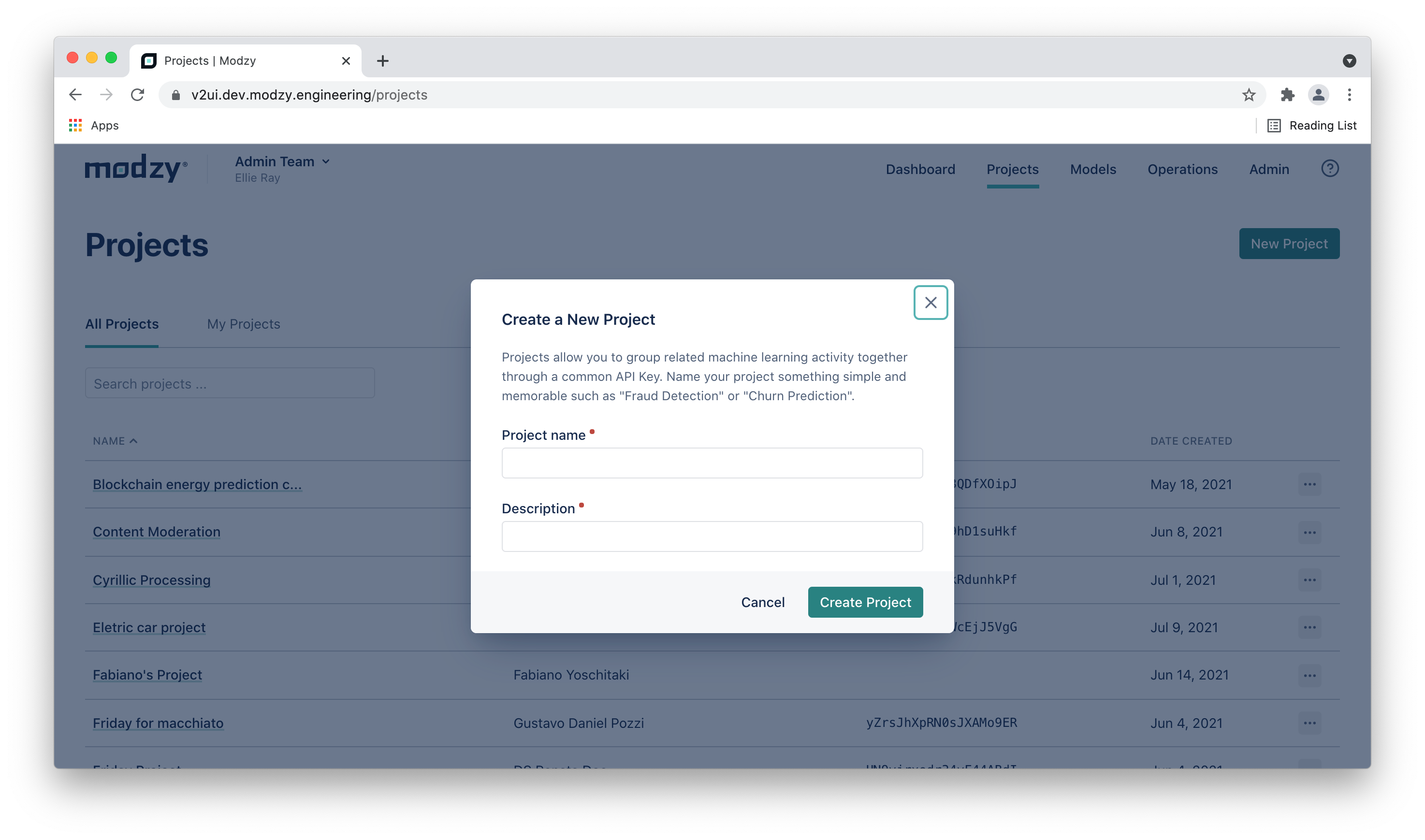 Create a New Project Modal