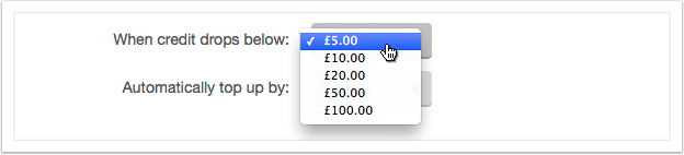 Select an amount to top up by