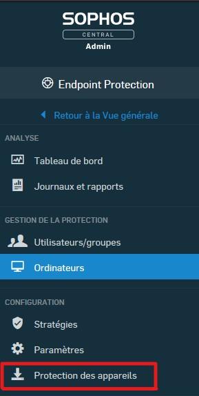 """Cliquez sur """"Protection des appareils""""."""