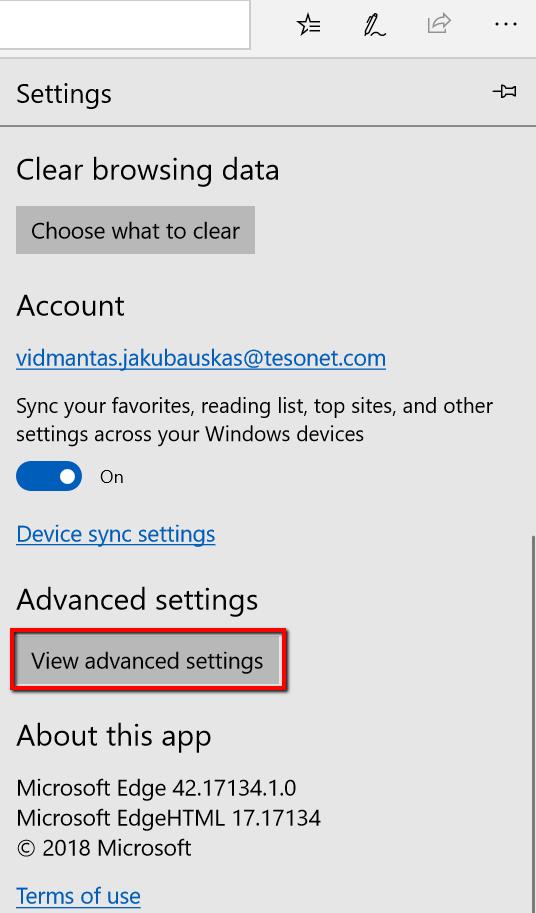 Microsoft Edge proxy setup - view advanced settings