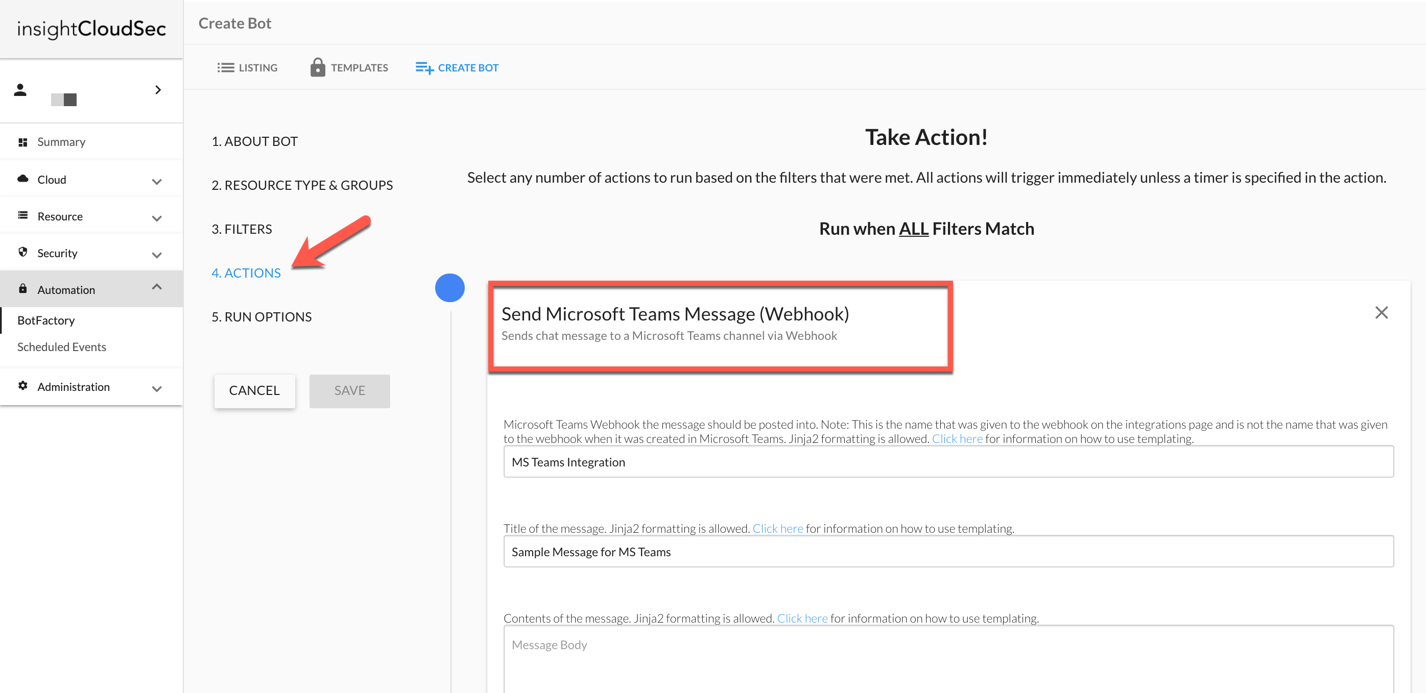 InsightCloudSec Bot Action Setup Example
