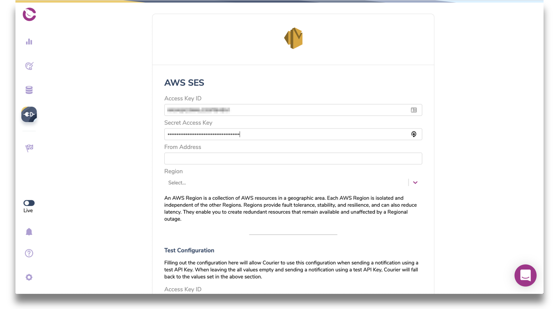 Courier AWS SES integration page