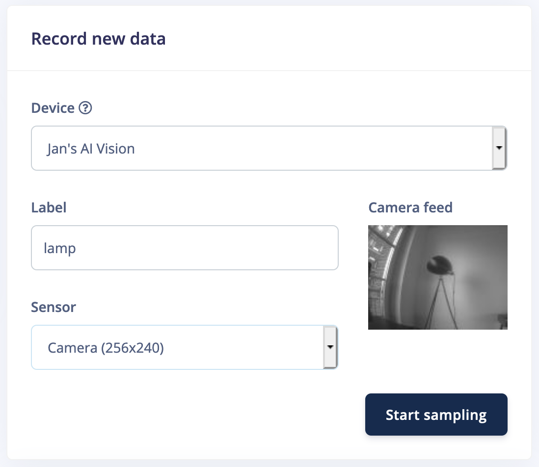 Record new data from a camera